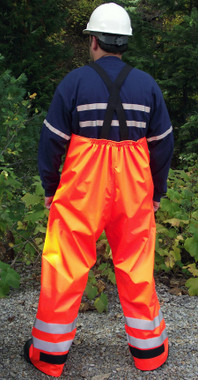 The seams on our fire resistant Hi Vis 10.6oz. Lunar overalls are heat sealed and have 1 1/2 inch elastic suspenders with quick release buckles, a fly front snap closure, standard reflective at bottom of legs with optional reflective placement choices.