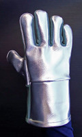 """14"""" Aluminized Leather (AL) FR gloves with High Temperature Leather palms have additional HT Leather at thumb and forefinger for added protection."""