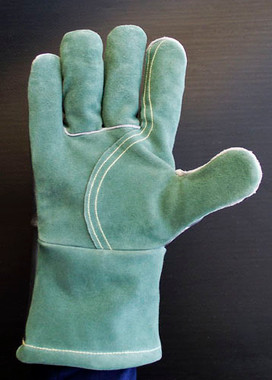 """14"""" Aluminized Leather and High Temperature (HT) Leather palmed gloves with additional HT Leather on half of palm."""