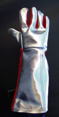 """23"""" length Orange Chrome (CO) or High Temperature (HT) Leather on forearm and palm of gauntlet glove protects hands and forearms from high heat and molten splash."""