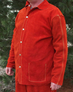 Our Orange Chrome Leather welding coat is top stitched on the yoke and sleeves for heavy duty long lasting performance.