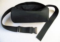 Half face respirator bag made from heavy duty polyester attaches with a heavy duty quick release clip at the waist.