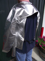 Aluminized  PBI, Aluminized Carbon Kevlar®, or Aluminized Leather coat offers superb protection from molten metal splash and has an open back with rear adjustable waist strap.