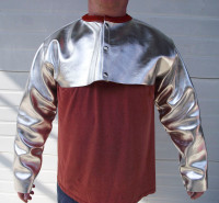 """Aluminized Leather or Aluminized Carbon Kevlar® cape sleeve bib offers protection from molten metal splash and offers compatible 48"""" bibbed apron (sold seperately)."""