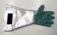 Gauntlet style gloves with aluminized leather forearm and fire resistant Chrome or High Temperature leather palms. These are quality gloves designed for hot work applications in many different PPE environments.