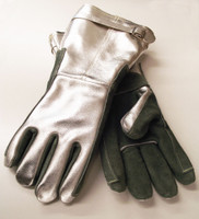 FR high temperature gauntlet glove with knit wool liner.