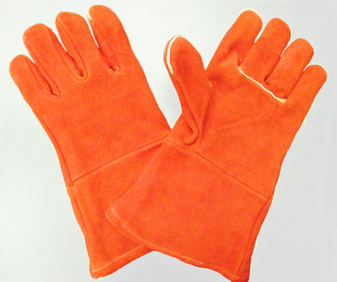 100% Wool lined Orange Chrome CO Leather welding gloves.