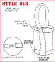 """Heavy duty Polyester bucket style mining tool bag made from heavy duty nylon measures 12"""" in diameter and is 15"""" tall."""