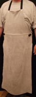 Front of Leather Bibbed Welding Apron in Hi Temp (HT) Grey or Orange Chrome CO Leather