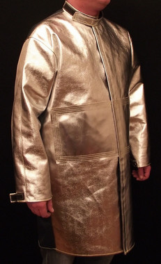 "40"" Coat made from Aluminized Carbon Kevlar® ACK, and Vinex® (FR9B)  fabrics with FR hook & loop closures."