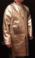 """40"""" Coat made from Aluminized Carbon Kevlar® ACK, and Vinex® (FR9B)  fabrics with FR hook & loop closures."""