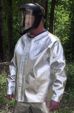 ACK and twill back aluminized coat.