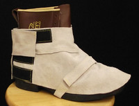 Pearl Sole leather boot spats with heavy duty hook & loop closure over top of foot and around heel.