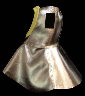 Side view of FR Aluminized Leather hood with Kevlar® trimmed face opening.