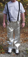 ACK suspender pants with splash protection toe guards for metal casting, welding, and other hot work applications.
