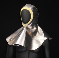 Aluminized Leather Hood with DuPont™ Kevlar® Knit framing the face.  Not meant to be worn with a helmet or hard hat.
