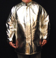 This coat is made of Aluminized Carbon Kevlar® which is a highly flexible fabric making it easy to move and work in while still offering protection from Molten Splash and Radian Heat up to 1000° F.