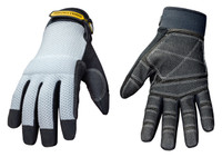 The Youngstown Mesh Utility Plus gloves have a reinforced palm, fingers and thumb with heavy duty non-slip to ensure lasting durability and grip.  Use the terry cloth brow wipe positioned on the thumb for wiping away sweat and debris!