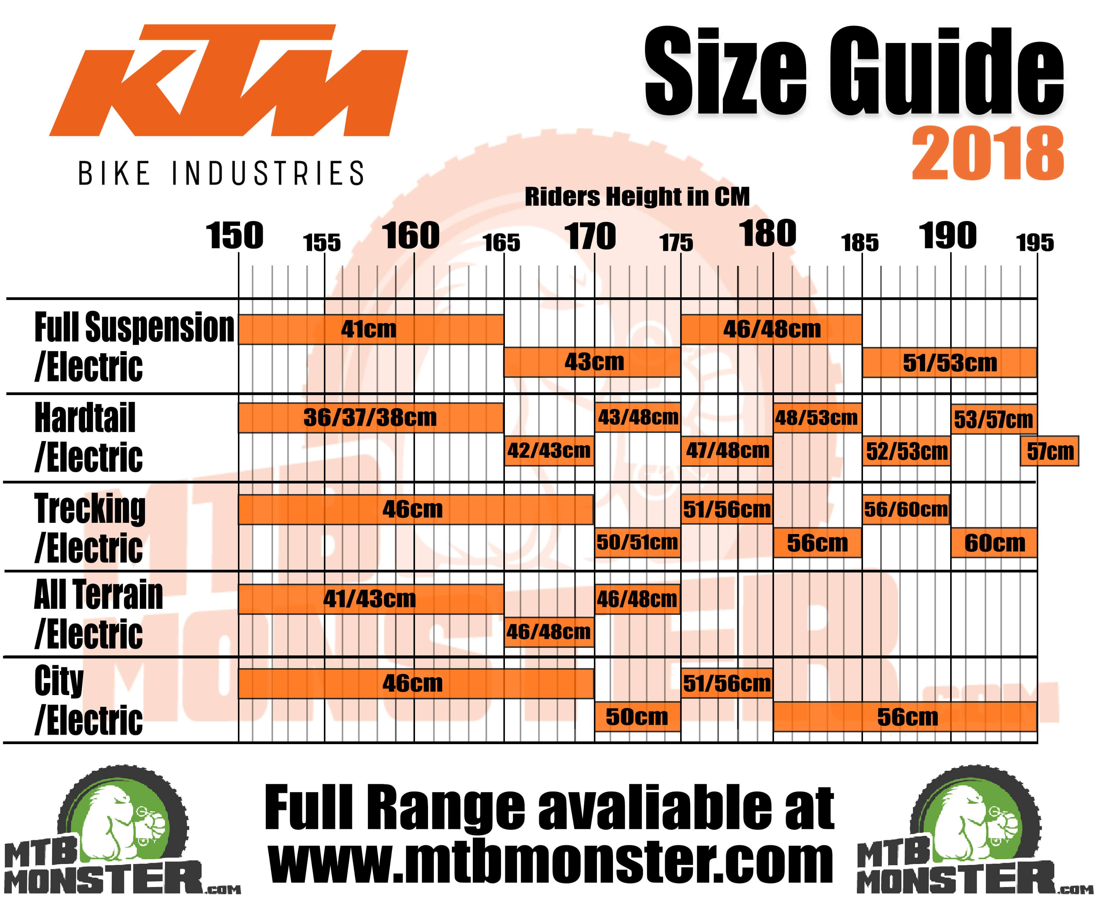 KTM Bikes Size Guide, KTM Bikes Sizing Chart 2018