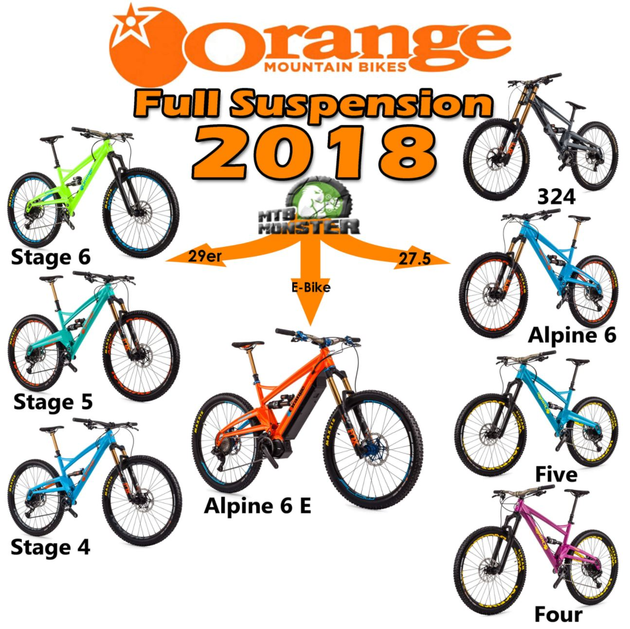 orange full suspnesion mountain bike range