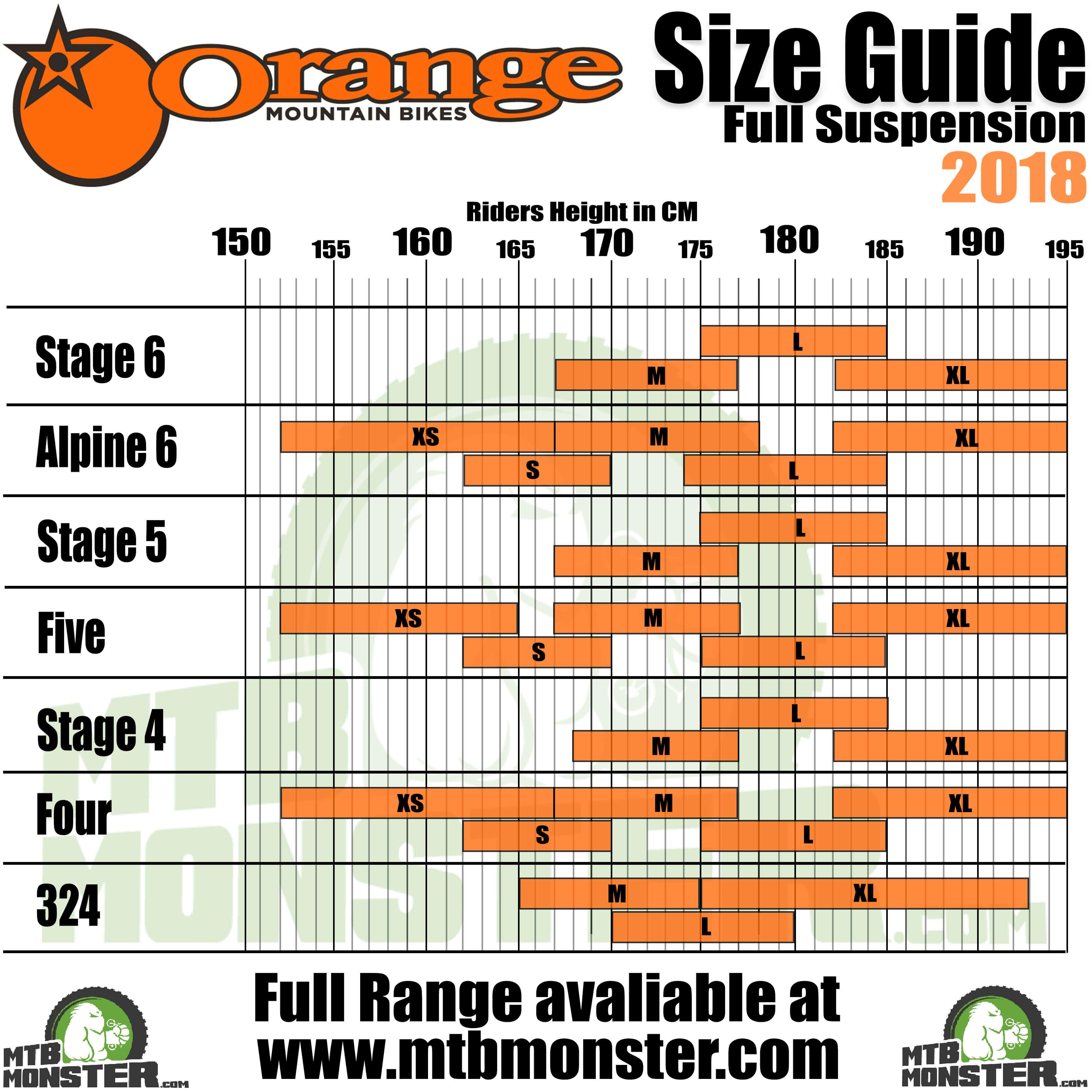 Orange Mountain Bikes Size Guide | Orange Mountain Bikes Sizing Chart 2018