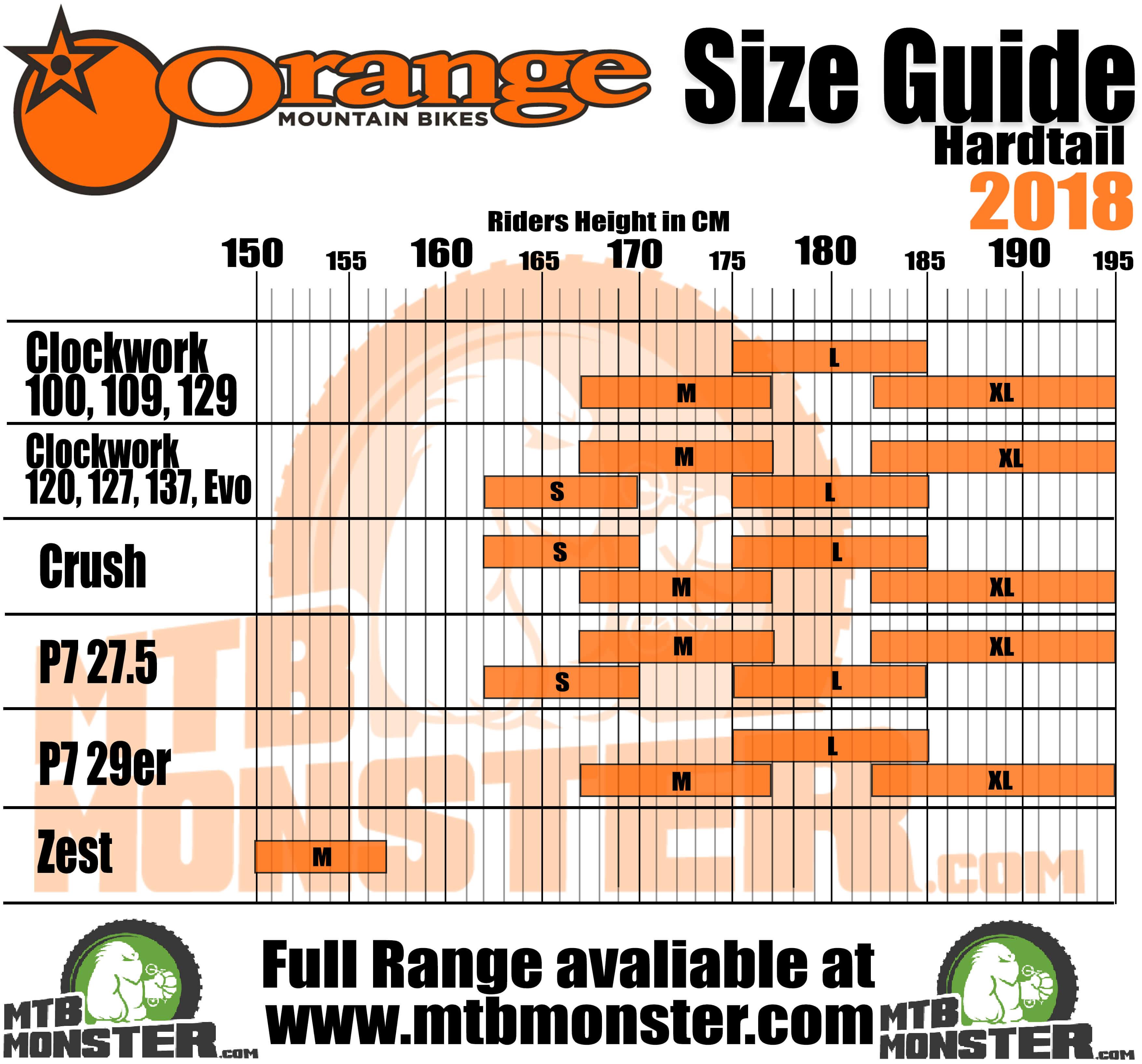 Orange Mountain Bikes Size Guide | Orange Mountain Bikes Sizing Chart