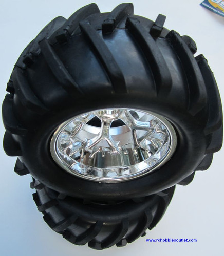 83005 WHEEL TIRE & SILVER RIM HSP 1/8 SCALE TORNADO ETC