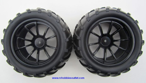 08010 1/10 Monster Truck Wheel, Tire and Black Rim Complete ( 2 PC) HSP, Redcat