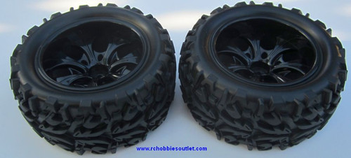 20126 1/10 Monster Truck Wheel, Tire and Black Rim Complete ( 2 PC) 08010