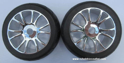 67007 Wheel with Silver Rim & On-Road Tire 1/8 Scale (2 wheels)  81035  85746