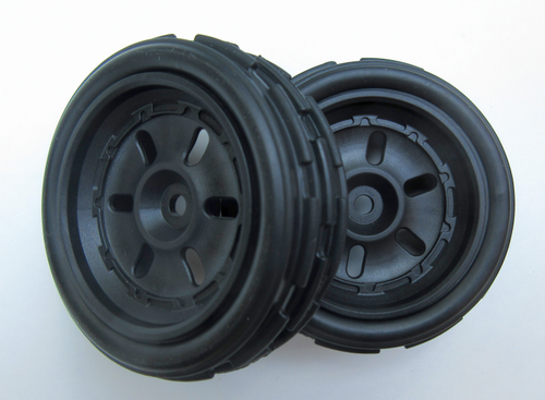 40208 Front Wheels, Tire and Black Rim  ( 2 wheels complete)