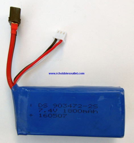 50646 LIPO Lithium RC Battery 7.4V 25C 2 CELL 1800MAH T Connector