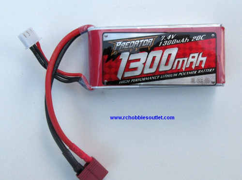 LIPO Lithium RC Battery 7.4V 20C 2 CELL 1300MAH  with T Connector