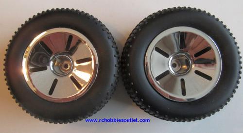 17703 Wheel Complete Silver Rim  2 pieces HSP , Redcat, HIMOTO ETC