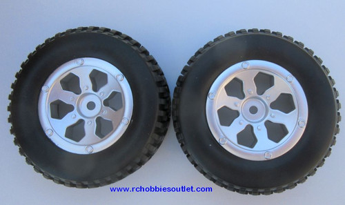 20114  Complete Tire & Wheel Silver Rim  Trophy Truck HSP Redcat