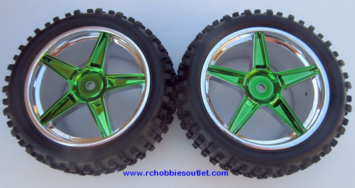 06026  2 Rear Wheel & Tire Green Chrome Rim 1/10 Scale  HSP, Redcat