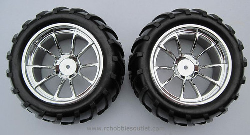 08010 1/10 MONSTER TRUCK WHEEL, TIRE AND RIM COMPLETE ( 2 PC) HSP, Redcat