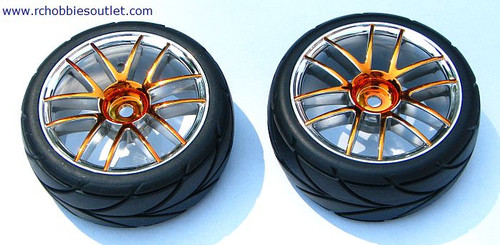 02020 02185 1/10 SCALE WHEEL, TIRE AND GOLD RIM COMPLETE X 2