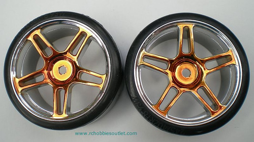 07003 1/10 SCALE DRIFT TIRES RIMS WHEELS  GOLD