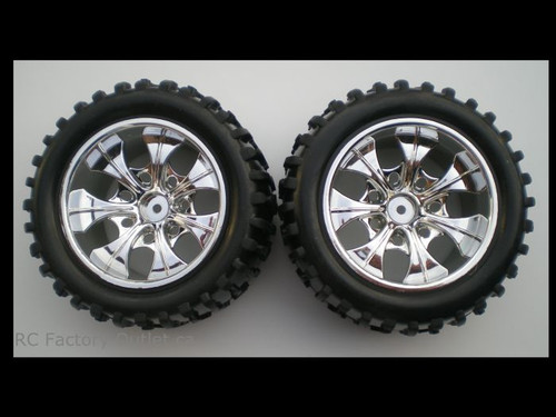 08010 N 1/10 MONSTER TRUCK WHEEL, TIRE AND RIM COMPLETE  (2 PC) HSP, Redcat