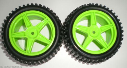 06026 HSP 2 Rear Wheel & Tire Green 1/10