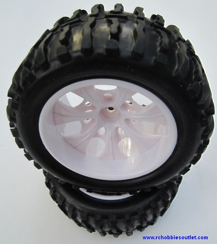 08010 1/10 MONSTER TRUCK WHEEL, TIRE AND WHITE RIM COMPLETE ( 2 PC) HSP, Redcat