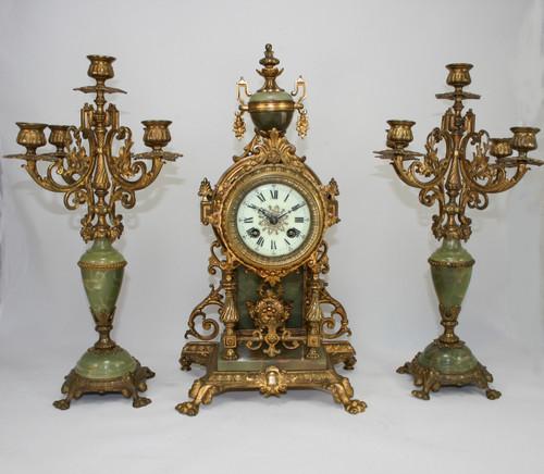 Circa 1890 - Stunning French Green Onyx Clock & Candelabra Set