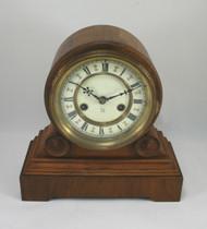 Circa 1900 HAC Oak Drumhead Mantel Clock