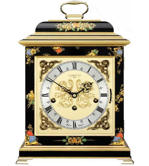 C4611TCH-B - Comitti of London Georgian Bracket Clock - Chinoiserie (Black)