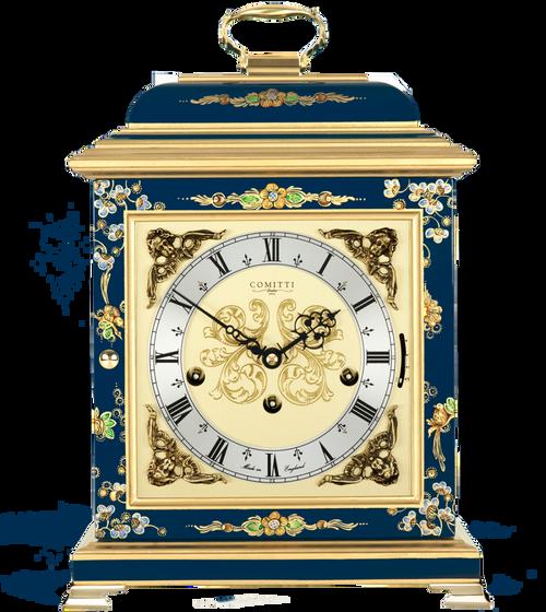 C4611TCH-BL - Comitti of London Georgian Bracket Clock - Chinoiserie (Blue)
