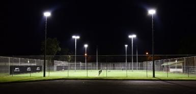 Tennis Court Lighting Upgrade using 600W Pro Sport LED Tennis Court Lights LITE-EL-600W-TC