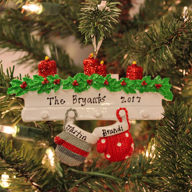 Family Personalized Christmas Ornament with 2 Mittens