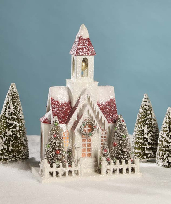 "Bethany Lowe 15.5"" Vintage Putz Church Christmas House LC4590"