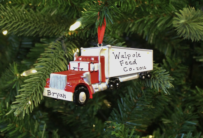 Semi Truck Personalized Christmas Ornament